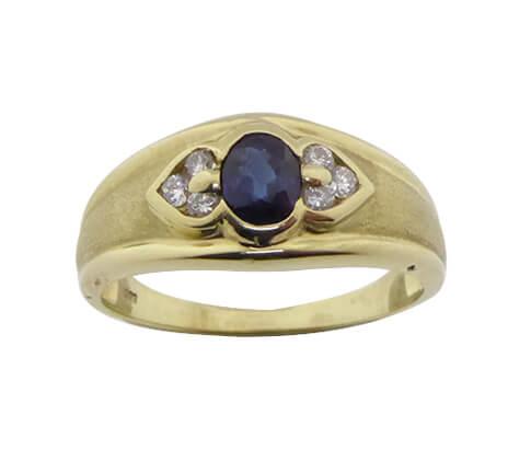 Christian gouden ring met saffier en zirkonia