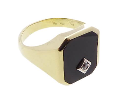Geel gouden ring met zirkonia en onyx