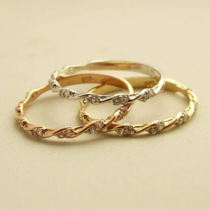 Gouden ringen (set) met zirkonia