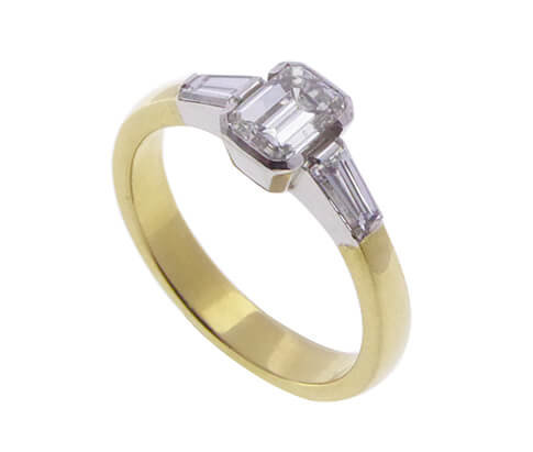 18 karaat bicolor ring met diamant