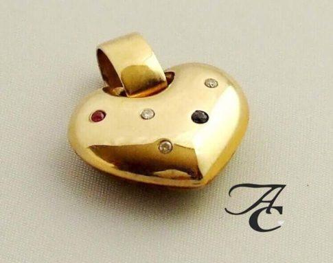 Geel gouden harten hanger