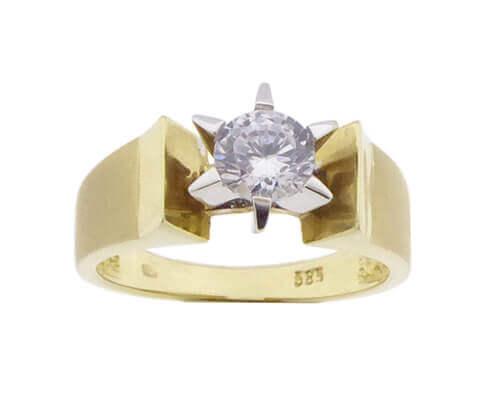 Geel gouden ring met zirkonia