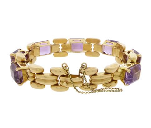 18 karaat gouden armband met amethyst