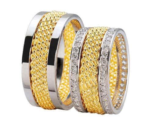 Bicolor trouwringen met diamanten