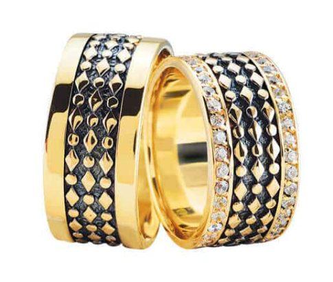 Fantasie trouwringen met 2 rijen diamanten