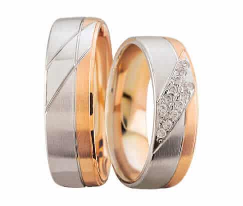 Rosé- en wit gouden Christian trouwringen