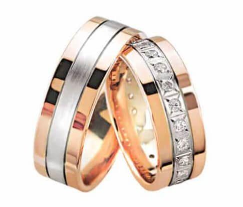 Rosé gouden trouwringen met diamanten 0.25 ct.