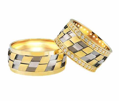 Bicolor trouwringen 0.74 ct. diamanten