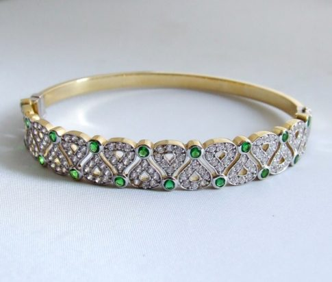 Gouden armband met smaragd en zirkonia