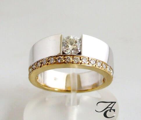 Atelier Christian bicolor ring met diamant