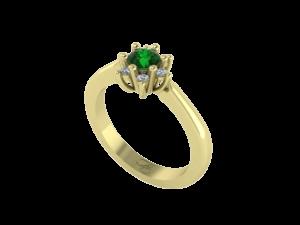 Geelgouden ring met smaragd en briljant of zirkonia