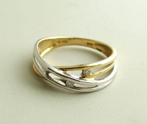 Bicolor Christian gouden ring met diamant