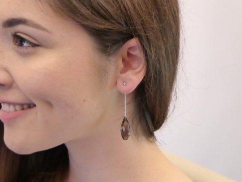 Gouden oorbellen met rookkwarts
