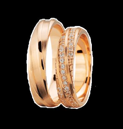 Rosé gouden trouwringen met 3 rijen diamanten