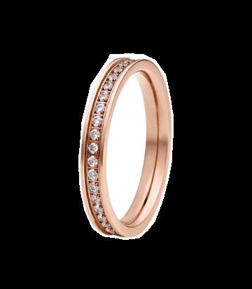 Edelstalen ring met zirkonia (rosé of zilver)
