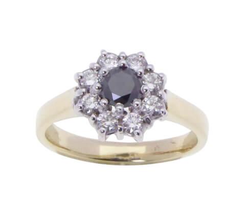 Gouden ring met Black and White Diamonds