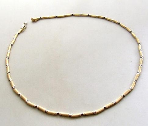 14 karaat geel- en wit gouden collier