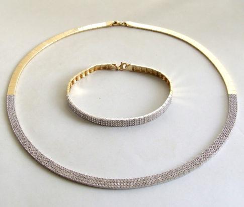 Bicolor set armband en collier met zirkonia