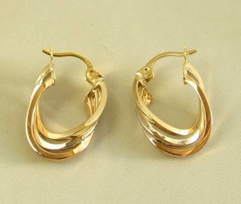 14 karaat geel-, wit en rosé gouden oorbellen