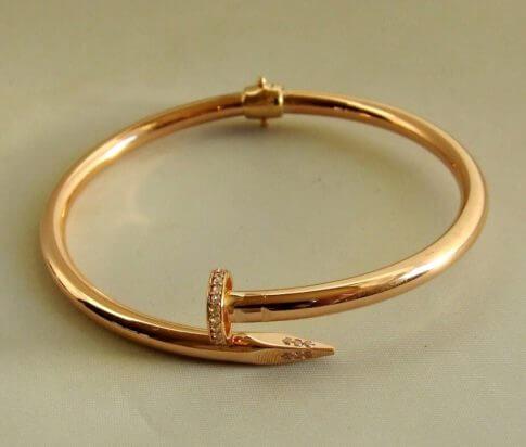 Rosé gouden zirkonia slavenarmband spijkermodel
