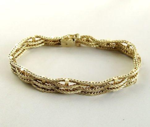 14 karaat wit- en geel gouden gevlochten armband