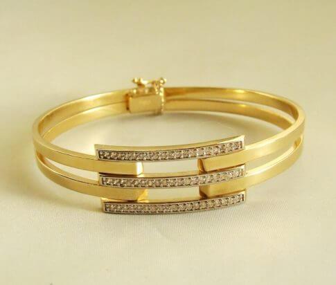 14 krt geel gouden armband met zirkonia