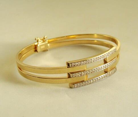 14 karaat geel gouden zirkonia armband