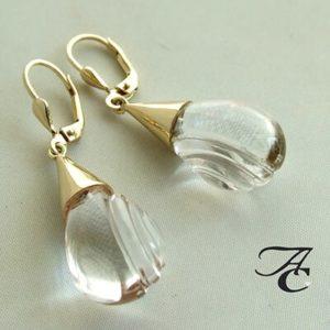 Gouden oorbellen met bergkristal