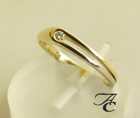 14 karaat bicolor ring met briljant