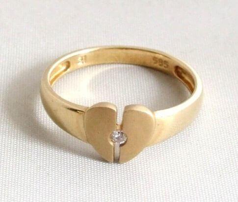 14 karaat geel gouden harten ring met diamant