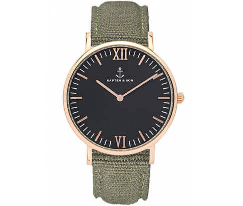 Kapten en Son horloge Black Olive Canvas Campus 4251145223762
