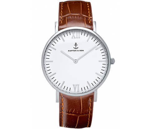 Kapten en Son horloge Silver Brown Croco Leather Campus 4251145212568