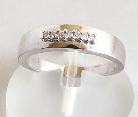 Wit gouden ring met diamanten 0.07 ct.