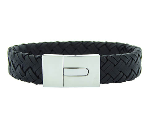Christian Leather Black Bracelet White Clasp