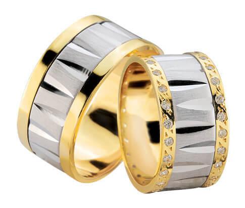 Fantasie trouwringen met dubbele rij diamanten