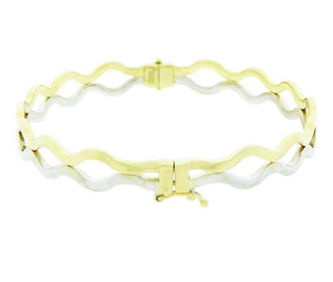 14 karaat geel- en wit gouden slavenarmband