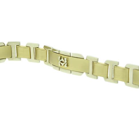 14 karaat wit- en geel gouden armband