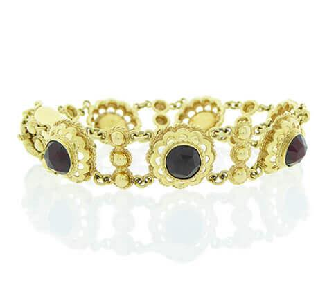 Geel gouden armband met granaten