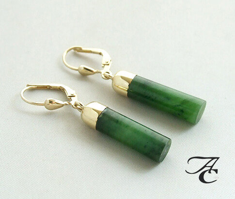 Gouden oorhangers met jade