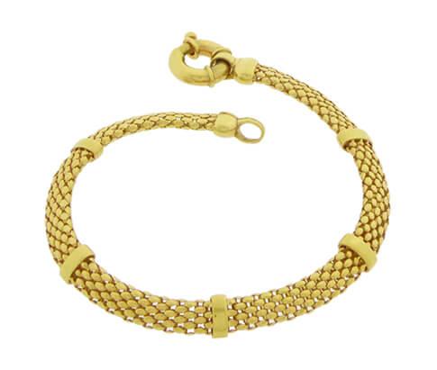 14 karaat gouden geweven armband