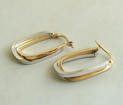 Christian gouden bicolor oorbellen