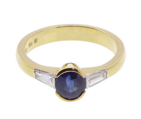 18 karaat gouden tanzaniet en diamanten ring