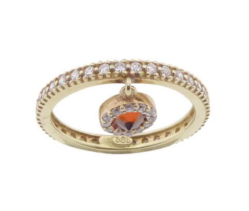 14 karaat geel- en rosé gouden ring met hanger