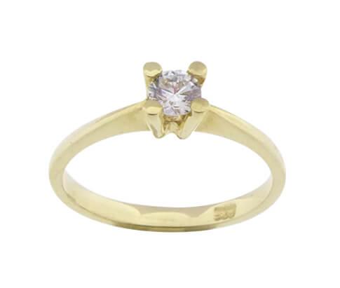 14 karaat gouden solitair zirkonia ring