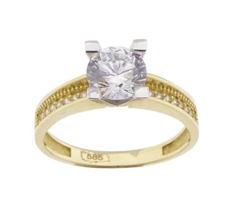 14 karaats gouden bicolor zirkonia ring