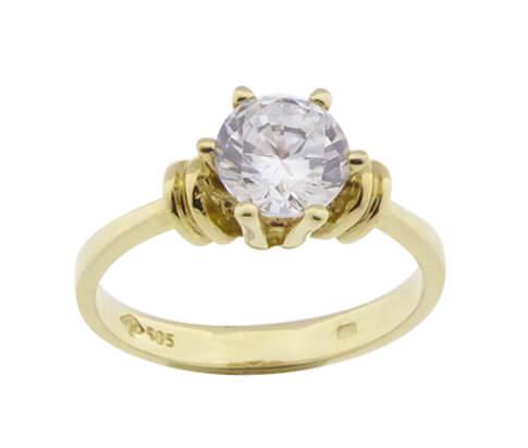 14 karaats gouden ring solitair met zirkonia