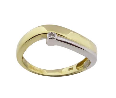 Christian bicolor gouden ring met 1 briljant