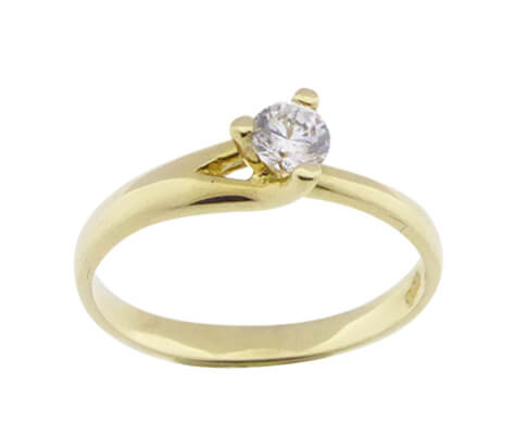 Christian geel gouden ring solitair met zirkonia