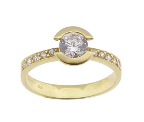 Christian ring geel goud met zirkonia