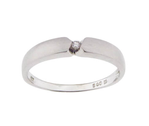 Christian wit gouden ring met 1 diamant